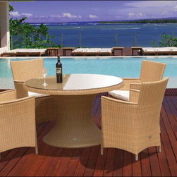 """Fifthroom - 48"""" Wicker Dining Table and Wicker Full Weave Chair Set -"""