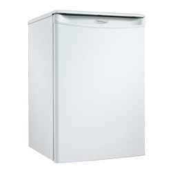 Danby - Compact All Refrigerator - White - You can add a touch of class to any room in your home or office with this striking compact refrigerator by Danby. It comes in at a height of just over two feet and features 2.6 cu. ft. (73 L) of cooling capacity. It's the ideal unit for floors and countertops, making it the perfect fridge for spaces such as dormitory rooms and wet bars. Finding storage room for tall bottles is no problem at all and the third-generation CanStor beverage dispenser is second to none. Accessories can easily be stored on the scratch-resistant worktop and there's no need to defrost the unit as it's done automatically. This splendid appliance also comes with a mechanical thermostat and offers 2.5 strong wire shelves for maximum storage versatility. Both left and right-handed users will love the convenient reversible door swing and the integrated door handle.