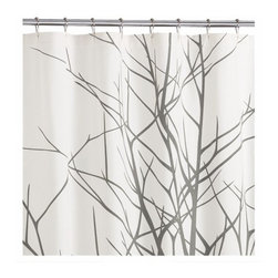 "2-Piece Arbor Shower Curtain and Angel Hair Rug Gift Set CB2 - It's a two-for-one. If it's time to demote the old shower curtain to paint dropcloth duty, it's probably time for a new bathmat as well. This botanical shower curtain comes with a fresh shaggy bathmat. Shower curtain has a grey tree silhouette on natural cotton canvas with buttonhole openings for shower rings (not included)Rug is white plush pile made of cotton and viscoseMachine wash2-piece set: 72"" sq. shower curtain; 23.5""x35.5"" rug."