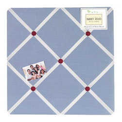 Sweet Jojo Designs - Come Sail Away Fabric Memo Board - The Come Sail Away Fabric Memo Board with button detail is a great way to display photos, notes, and postcards on your child's wall. Just slip your mementos behind the grosgrain ribbon to create an engaging piece of original wall art. This adorable memo board by Sweet Jojo Designs is the perfect accessory for the matching children's bedding set.