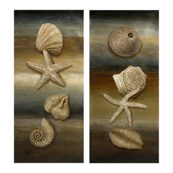 Beach Sea Shell Still Life Oil Painting - Set of 2 - *Shells add dimension to this set of two still life oil paintings with sandy neutral and cool blue beach tones depicted as their bases.