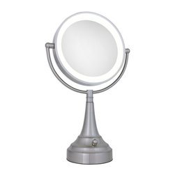 Zadro - Zadro Led Lighted 1X/10X Round Vanity Mirror In Satin Nickel-Ledsv410 - The LED Lighted Round Vanity Mirror features a dual-sided, premium quality mirror with two magnifications. On one side, a 10x magnification mirror allows you to see up-close and in detail, allowing for easy make-up application.  The other side features a normal, 1x magnification mirror that is great for checking hair and make-up.