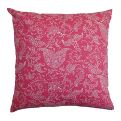 """The Pillow Collection - Aderyn Paisley Pillow White Pink 18"""" x 18"""" - A striking fabric of raspberry red, with a black chenille floral design that is outlined in a paler version of the raspberry. Adding flair is the silky soft fringe at the ends of the pillow, in raspberry and muted grape. The perfect proportion to fit against a sofa arm, or sectional. It coordinates effortlessly with all the striped and floral pillows in this series. Hidden zipper closure for easy cover removal.  Knife edge finish on all four sides.  Reversible pillow with the same fabric on the back side.  Spot cleaning suggested."""