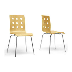 "Baxton Studio - Baxton Studio Celeste Birch Modern Dining Chair (Set of 2) - Clean, simple, minimalism evokes peace of mind. Our Celeste Contemporary Dining Chair features a birch-colored plywood seat with circular cut-out backrest sitting atop a chrome-plated steel frame. Black plastic non-marking feet help in the prevention of scratches on sensitive flooring. The Chinese-made Celeste Modern Dining Chair is not stackable and requires assembly. To clean, wipe with a dry cloth. Also offered is the Celeste Chair with a white seat (sold separately).Dimensions:19.5""W x18.5""D x 33.25""H  ,seat'sions: 16""W x 15""D x 18.25""H"