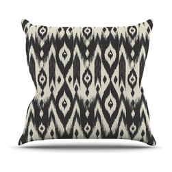 """Kess InHouse - Amanda Lane """"Black Cream Tribal Ikat"""" Tan Dark Throw Pillow (20"""" x 20"""") - Rest among the art you love. Transform your hang out room into a hip gallery, that's also comfortable. With this pillow you can create an environment that reflects your unique style. It's amazing what a throw pillow can do to complete a room. (Kess InHouse is not responsible for pillow fighting that may occur as the result of creative stimulation)."""