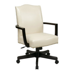 INSPIRED by Bassett - Managers Chair in Cream - Thick padded eco leather seat and back. Nail head details. Pneumatic seat height adjustment. Locking tilt control with adjustable tilt tension. Steel reinforced wood base with dual wheel carpet casters. Residential use only. Made from wood. Assembly required. Back: 20 in. W x 25 in. H. Seat: 20.75 in. W x 19.5 in. D. Overall: 25 in. W x 27 in. D x 45 in. HThe perfect addition to any office or conference room, this managers chair upgrades your style and professionalism to the next level.