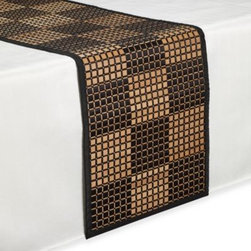 Huz Hou Yushan / Cts - Bamboo Black Checkered Runner - Runner made of bamboo slats woven with black threads and a modern checkered pattern adds a stylish touch to your table settings.