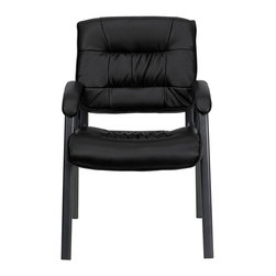Flash Furniture - Flash Furniture Executive Side Chair in Black with Titanium Frame - Flash Furniture - Guest Chairs - BT1404BKGYGG - Place this chair in your reception area for your visitors to be welcomed in comfort or in the office as a side chair for guests. The soft leather padded seat and back will make your guests feel very comfortable while business is being conducted. When in need of side chairs for the home or workplace this stylish chair is sure to be the perfect fit. [BT-1404-BKGY-GG]
