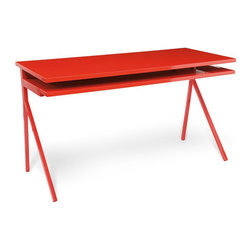 """Blu Dot - """"Blu Dot Desk 51, Humble Red"""" - """"An uncluttered surface. A keyboard tray. What else do you need to finish the great American novel or even the Mother of All Spreadsheets? How about some dramatic legs and color schemes like ivory/grey, humble red, slate or white? So get to it, Hemingway. """""""