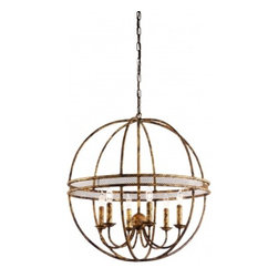 Cael- Chandelier - Cael Ball Chandelier- Hand Forged Iron with Gold FInish.