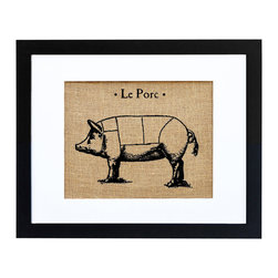 Fiber and Water - Le Porc Art - This classic French country-themed print is hand-pressed onto natural burlap like a vintage agricultural sack, giving it an extra dose of rustic nostalgia. Neatly framed in a contemporary black frame and white matte, it would look charming in a French-themed kitchen.