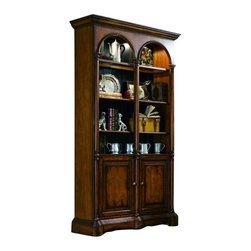 "Hooker Furniture - Seven Seas Bunching Bookcase - White glove, in-home delivery included!  With its double arch opening and storage this bunching bookcase adds sophistication and organization to your home.  Canister light with touch lighting control, one wood-framed glass shelf, two wood shelves, black finish on back panel, two doors, removable side moldings for bunching.  Opening inside doors: 43 3/8"" w x 12 1/4"" d x 25 1/4"" h  Top Opening: 50"" w x 16"" d x 55 1/4"" h  Wood Shelves: 43 1/4"" w x 12 1/8"" d"