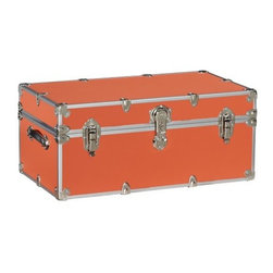 Dorm Sticker Trunk in Orange - This orange trunk would be perfect as a coffee table, and it doubles as ample storage, too!