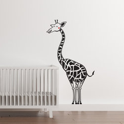 Cherry Walls - Happy Giraffe Nursery Decal - Don't be shy! This bashful giraffe is waiting for an invitation to playtime. Place this whimsical wall decal in the kids' room or nursery, and expect a new friendship to blossom. With a big grin, lanky legs and that trademark long neck, this is one animal friend that will never get lost under the bed or seat cushion.