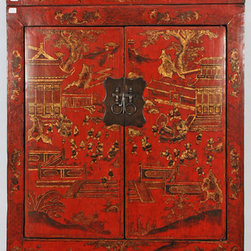 Rare Antique Chinese Cabinet with Matching Painted Trunk - Rare Antique Chinese Cabinet with Matching Painted Trunk