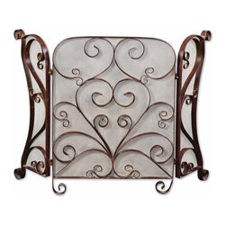 Grace Feyock - Grace Feyock Daymeion Traditional Fireplace Screen X-87202 - This screen is made of hand forged metal with a lightly distressed cocoa brown finish with light tan glaze.