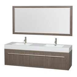 """Wyndham Collection(R) - Axa 72"""" Wall-Mounted Bathroom Vanity Set With Integrated Sinks by Wyndham Collec - The Wyndham Collection is an entirely unique and innovative bath line. Sure to inspire imitators, the original Wyndham Collection sets new standards for design and construction. The bold ultra-modern and visually stunning design of the Axa wall-hung vanity makes a powerful statement while incorporating generous counter space and storage for bath items. The one of a kind styling ensures a high-end look at a very reasonable price and brings an element of contemporary sophistication to a fabulous bathroom remodel. Satin Chrome accents finish the look - it's quite remarkable, and all the more so in person. Axa Bathroom Vanities are available in multiple sizes and finishes.FeaturesConstructed of beautiful veneers over the highest grade MDF, engineered for durability to prevent warping and last a lifetime 8-stage preparation, veneering and finishing processHighly water-resistant low V.O.C. sealed finishUnique and striking contemporary designModern Wall-Mount DesignMinimal assembly requiredDeep Doweled DrawersFully-extending side-mount soft-close drawer slides Concealed soft-close door hinges Backsplash not availableOne-piece acrylic-resin integrated sink(s) Integrated Square sink(s) Single-hole faucet mountsFaucet(s) not includedMatching mirror(s) includedMetal exterior hardware with satin chrome finish Two (2) functional doors One (1) functional drawer Plenty of storage space Plenty of counter spaceIncludes drain assemblies and P-traps for easy assembly How to handle your counter Spec Sheet for Vanity Installation Guide for Vanity Spec Sheet for 24"""" Mirror Spec Sheet for 70"""" MirrorSpec Sheet for Amare Rotating Wall Cabinet with Mirror (WC-RYV202) Spec Sheet for Amare Bathroom Wall Cabinet (WC-RYV205) Installation Guide for Amare Bathroom Wall Cabinet (WC-RYV205) Spec Sheet for Amare Bathroom Wall Cabinet (WC-RYV207-WC)Installation Guide for Amare Bathroom Wall Cabin"""