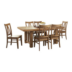 Riverside Furniture - Riverside Furniture Summerhill 7 Piece Dining Table Set in Canby Rustic Pine - Riverside Furniture - Dining Sets - 91650Summerhill7PcDiningSet