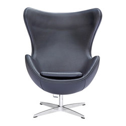 Lemoderno - Egg Chair In Leather by Lemoderno, Black Leather - This wonderful chair features a molded fiberglass frame, fire retardant polyurethane foam padding, and covered with 100% Italian leather. This item is a high quality reproduction of the original.