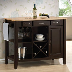 """Wildon Home � - Kitchen Island with Butcher Block - This kitchen island is crafted with a solid rubber wood butcher block work surface. Finish in natural and cappuccino. Find great use of its three drawers, stemware rack, open storage and wine bottle holder. Features: -Material: Solid rubber wood.-Stemware rack, open storage and wine bottle holder.-Finish: Natural and cappuccino.-Distressed: No.Specifications: -3 Drawer.Dimensions: -Overall Dimensions: 36"""" H x 43.25"""" W x 21.5"""" D.-Overall Product Weight: 125.68 lbs."""