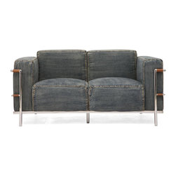 Zuo Modern - 58.6 in. Loveseat in Blue Denim - Classic design. Added a casual twist. Soft denim upholstery wrapped body. Chrome accent piece. Warranty: One year. Made from fiber. Assembly required. 58.6 in. L x 32 in. W x 28.3 in. H (85.1 lbs.)the Lasso series is the perfect blend of comfort and style.