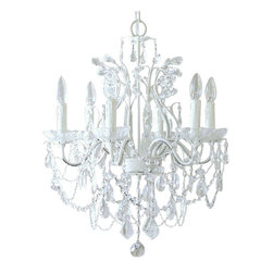 6 Light White Crystal Chandelier - This exceptional, large & sparkly 6-light crystal chandelier has been painted white.