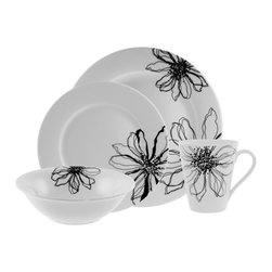 10 Strawberry Street - 10 Strawberry Street Flortenia 16-Piece Round Dinnerware Set - FLOR-1600 - Shop for Sets from Hayneedle.com! You'll love using the 10 Strawberry Street Flortenia 16-Piece Round Dinnerware Set to serve your family and friends their favorite meals. Beautifully designed with a bold floral pattern on a white backdrop this gorgeous set can easily be used for formal and informal gatherings. Crafted from strong and durable porcelain this set is dishwasher- and microwave-safe. Four place settings will provide everything you need for small intimate gatherings with those you love.Set Includes4 dinner plates4 salad plates4 soup/cereal bowls4 mugs