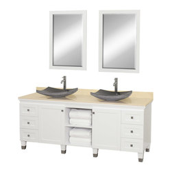 Wyndham - Premiere 72in. Double Bathroom Vanity Set - White - A bridge between traditional and modern design, and part of the Wyndham Collection Designer Series by Christopher Grubb, the Premiere Single Vanity is at home in almost every bathroom decor, blending the simple lines of modern design like vessel sinks and brushed chrome hardware with transitional elements like shaker doors, resulting in a timeless piece of bathroom furniture.