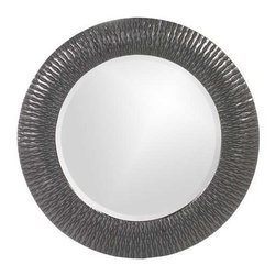 Howard Elliott Bergman Charcoal Gray Small Round Mirror - This round, resin mirror is painted in a glossy charcoal gray giving the piece textured, starburst effect.