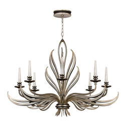 Fine Art Lamps - Villandry Silver Chandelier, 817240ST - Appoint your home with the palatial touch of this chandelier, inspired by the famed French chateau. A double leaf motif in rubbed black and antique silver is delightfully lit by handblown ribbed glass candles.