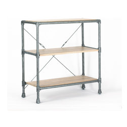 5 Horizons - Griffin Short Bookshelf - Crafted from solid oak timbers and steel reinforced accents, the Griffin collection is sure to add a utilitarian edge to any setting.  Whether in an urban loft in the city or in a cozy cottage in the country, this collection makes a statement with its mix of materials and modern yet rustic feel.