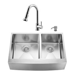 "VIGO Industries - VIGO All in One 33-inch Farmhouse Stainless Steel Double Bowl Kitchen Sink and C - Give your kitchen a fresh new look with a VIGO All in One Kitchen Set featuring a 33"" Farmhouse - Apron Front sink, faucet, soap dispenser, two matching bottom grids and two strainers."