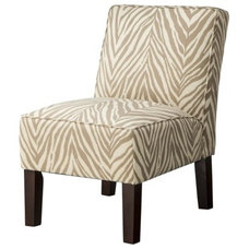Armless Upholstered Accent Slipper Chair - Khaki Zebra product details page