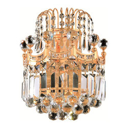 Elegant Lighting - Elegant Lighting 8949W12G/RC Corona 2 Light Wall Sconces in Gold - 8949 Corona Collection Wall Sconce W12in H12in E6in Lt:2 Gold Finish (Royal Cut Crystal)
