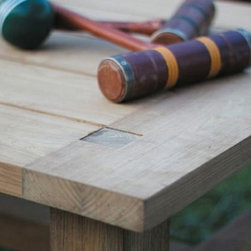 Outdoor Furniture For Oceanfront Houses - This detailed image of Summer Classics Croquet Teak coffee table shows the marine grade teak with mortise and tenon joinery.