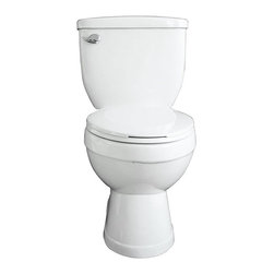 Samson - Samson Small Madison Round Toilet - TBT-1440-01 - Shop for Toilet from Hayneedle.com! The Samson Small Madison Round Toilet is a classic space-saving bathroom appliance ideal for residential or commercial settings. This two-piece all white toilet is constructed of vitreous china for long-lasting beauty and durability. In a round bowl this toilet features siphon flushing at 1.6 GPF for low water consumption. Ensuring a smoother flush is a 12-inch rough in and a two-inch fully glazed trapway. Included are two color-matched bolt caps and a chrome trip lever. Toilet seat and matching lavatories are sold separately.About Trumbull IndustriesFounded in 1922 as a single branch plumbing supply house Trumball Industries has evolved over the years in to a privately held corporation and full-line distributor with specialized divisions. With 6 branch locations Trumball Industries has several divisions: an Industrial Division that provides products and services to industrial manufacturers a Home Center Division that offers expertise in all major kitchen and bath products a Municipal Division that offers a full line of water and sewer products and a Master Distribution Center with 500 000 square feet housing over 80 000 products. Aside from providing quality services to their customers the people at Trumbull Industries are happy provide a tour of any of their facilities as well as assist you with any design layout or purchasing decisions.