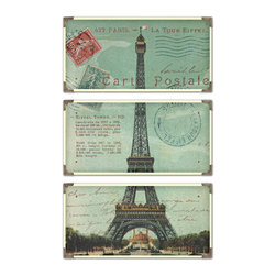 Uttermost - Eiffel Tower Carte Postale Art Set of 3 - Bon Voyage! You'll feel like you've traveled to France when you hang this set of three faux postcards in your space. Each is laminated on a wood board with antique brass corners and each has a unique decorative accent.