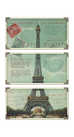 Uttermost - Eiffel Tower Carte Postale Art, Set of 3 - Bon Voyage! You'll feel like you've traveled to France when you hang this set of three faux postcards in your space. Each is laminated on a wood board with antique brass corners and each has a unique decorative accent.