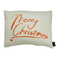 Lava - Merry Christmas 18 x 14 Pillow (Indoor/Outdoor) - 100% polyester cover and fill. Suitable for use indoors or out. Made in USA. Spot clean only