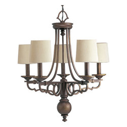 Thomasville Lighting - Thomasville Lighting P4566-102 Meeting Street 5 Light 1 Tier Chandelier - Thomasville Lighting P4566-102 Five Light Meeting Street Single Tier ChandelierFeaturing graceful scrolled metalwork with Ecru Linen Pleated Fabric shades and decorative finials, there is no better choice for your lighting needs. For those questing for the perfect Old World crafted iron look, this five light single tier chandelier will make the perfect choice.With a Forged Black or Roasted Java finish, the Meeting Street collection features antique opal swirl art glass.Thomasville Lighting P4566-102 Features: