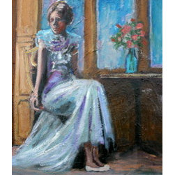 Waiting (Original) by Linda Lesperance - Painting of a girl waiting to be asked to dance