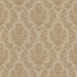 Mirage - Capulet Brass Silk Damask Wallpaper - Enough romance for Romeo and Juliet, but in neutral colors that are universally pleasing, this brass colored silk damask wall design is ultra elegant. This prepasted wallpaper is both lovely and practical: A roll includes 56.38 square feet of scrubbable, easy to peel off solid sheet vinyl.