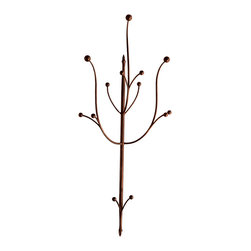 Caporali - Ramo Coat Hook by Caporali - Tuscany, Italy - Hand forged in the Caporali workshop (Santa Mama, Tuscany, Italy), this beautifully designed wall mounted coat rack is made by hand in Italy by skilled artisans. Since 1885, the Caporali family has been forging iron in Tuscany using the same methods passed down through four generations. Each piece is a work of art yet perfectly functional. As an addition to your home entrance, it makes a subtle statement about your appreciation and respect for the highest quality and design in home furnishings.