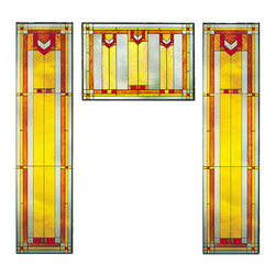 """Maclin Studio - Arts and Crafts Prairie Window Red Art Glass Panel Triptych - The Arts and Crafts Prairie Window Red Art Glass Panel Triptych is a set that includes two of our striking new 42"""" tall Prairie Window Art Glass Panel 9 (left/right) and one Prairie Window Art Glass Panel Red (middle). All panels are hand made in the USA with a color palette of Reds, Browns, Gold Ambers and Frosted Clear. Ht: 42"""" W: 10.25"""" (left/right). Ht: 14"""" W: 20.5"""" (middle). On these glass panels, enamel colors are individually applied to a single sheet of tempered glass giving each panel unique aspects of both color and texture. The glass is then framed with a patinated metal came and comes complete with a set of six mounting chains."""