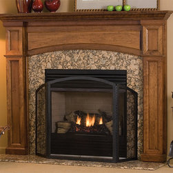 Hathaway Wood Fireplace Mantel - The Hathaway wood fireplace, shown here in Cherry with Provincial Stain, is simple in design but makes a powerful statment with its clean lines and cutouts. The Hathaway is fully customizable in size, wood type and color. - Mantels Direct