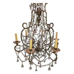 19th Century French Chandelier - Intricate detail and swags of crystals drip elegantly from this amazing chandelier.  Originally this was for candle light, it was converted some time in the mid 20th century to electric.  It now has new wiring and is ready to be hung.The tear drops are hollow, so very light and fragile.  Since it is a larger chandelier the lightness of the crystals helps with the weight if the item.
