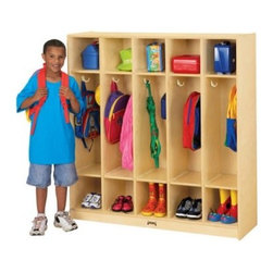 Jonti-Craft Coat Locker - 5 Sections - The Jonti-Craft Coat Locker - 5 Sections is perfect for any classroom, mudroom, or playroom. With 5 sections, coat hangers in every section, and lower sections for boots or tennis shows, kids will love keeping their winter, spring, or summer play wear put away, where it belongs. Constructed out of birch with a Kydz-Strong laminate, a natural wood finish, and rounded corners and edges, it's not only easy to clean but it looks great in any setting. About Jonti-CraftFamily-owned and operated out of Wabasso, Minn., Jonti-Craft is a leading provider of quality furniture for the early learning market. They offer a wide selection of creatively designed products in both wood and laminate materials. Their products are packed with features that make them safe, functional, and affordable. Jonti-Craft products are built using the strongest construction techniques available to ensure that your furniture purchase will last a lifetime.