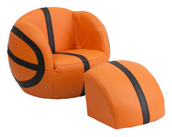 Flash Furniture - Flash Furniture Kids Basketball Chair and Footstool - Kids will now get to enjoy furniture designed specifically for their size! This sports inspired furniture will have your little one enjoying the game in their new favorite seat! This fun set features a chair and footstool. The footstool fits snug inside the chair for a clean appearance or for easy transporting. The vinyl upholstery ensures easy cleaning after accidents or for quick wipe offs.