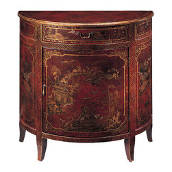 "Inviting Home - Hand-Painted Red Cabinet - Hand-painted half-round cabinet with Oriental scenes on an antiqued red background one drawer one door one shelf inside and antiqued brass hardware; 34""W x 17""D x 32-3/4""H Hand-crafted half-round cabinet. This cabinet is hand-painted with Oriental scenes on an antiqued red background. Hand painted cabinet has one drawer one door with one shelf inside and antiqued brass hardware."
