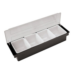 "Paderno World Cuisine - ABS Plastic Bar Cocktail Container with 3 Storage Compartments - The Paderno World Cuisine ABS plastic bar container has three storage compartments. Preparing multiple cocktails and drinks require organization. The container is designed to snuggle in the bar area while providing constant access to the necessary ingredients.; Has three storage conpartments; Holds various ingredients; Dishwasher safe; A staple in busy bars and bistros; Professional quality; Weight: 4.4 lbs; Made in Italy; Dimensions: 3.5""H x 19.25""L x 5.88""W"